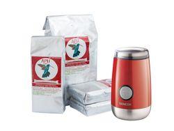 APU Café akciové balenie 4kg + Elektrický mlynček Sencor červený ako darček