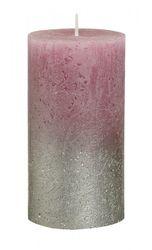 Sviečka Rustik valec strieborno-staroružová 130 x 68 mm