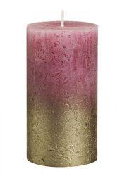 Sviečka Rustik valec zlato-staroružová 130 x 68 mm